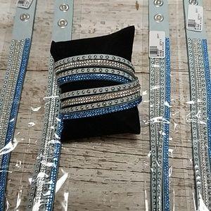 Vegan wrap bracelet blue adjustable